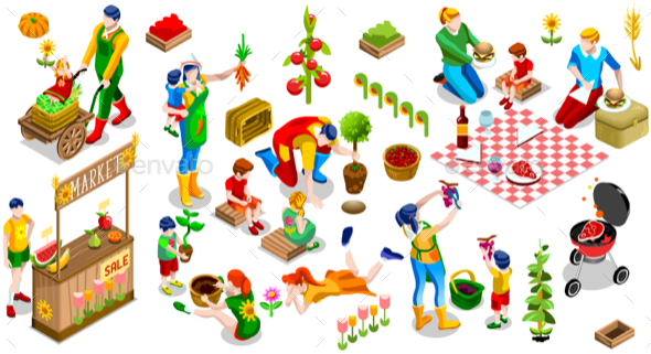 Isometric Family Planting Icon Set Vector Illustration - People Characters