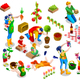 Isometric Family Planting Icon Set Vector Illustration - GraphicRiver Item for Sale