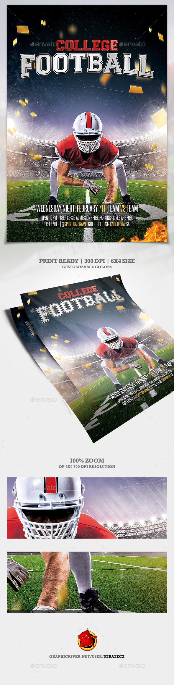 College Football / American Football Flyer - Print Templates
