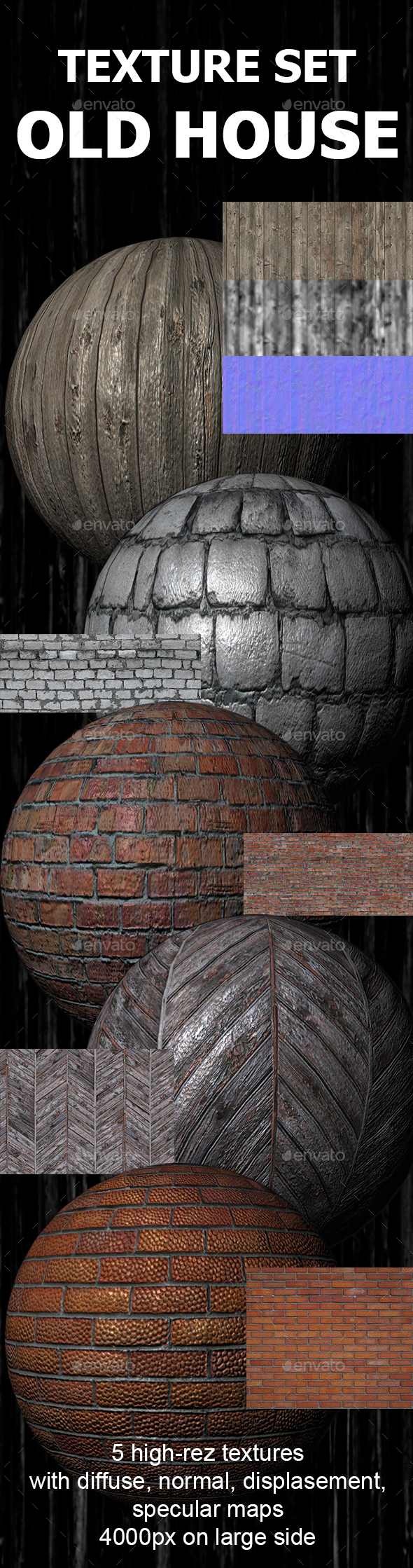 Grunge textures wood, brick, stone - 3DOcean Item for Sale