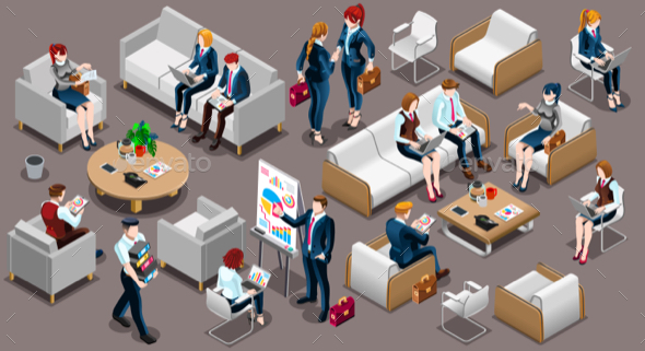 Isometric People Meeting Room Icon 3D Set Vector Illustration - People Characters