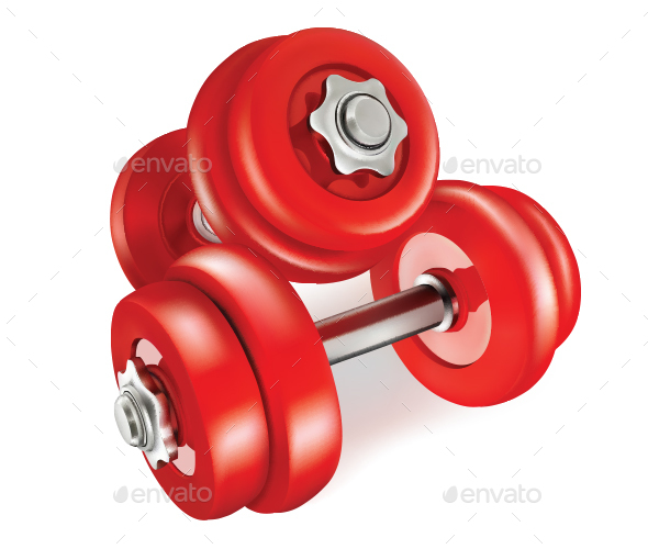 Red Dumbbells - Sports/Activity Conceptual