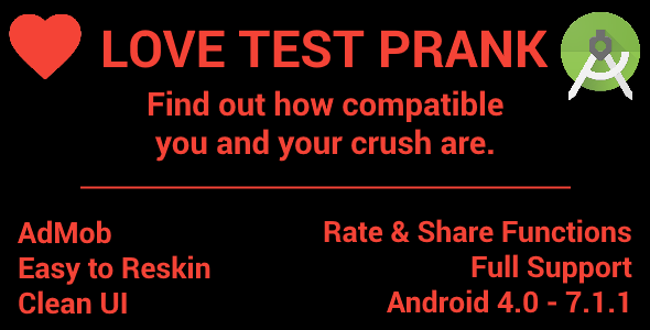 Love Compatibility Test - Ad Mob (Banners & Interstitials) - CodeCanyon Item for Sale