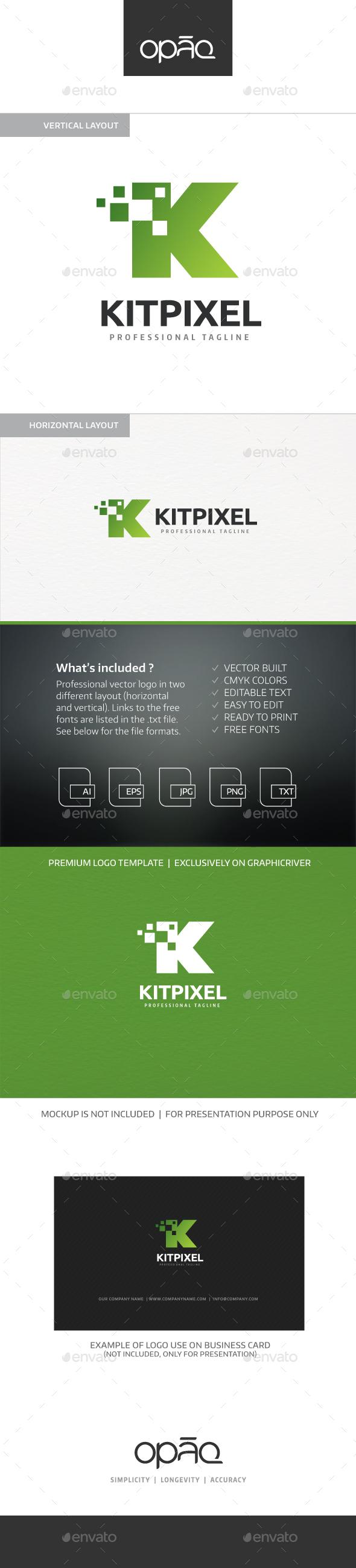 Kit Pixel K Letter Logo - Letters Logo Templates
