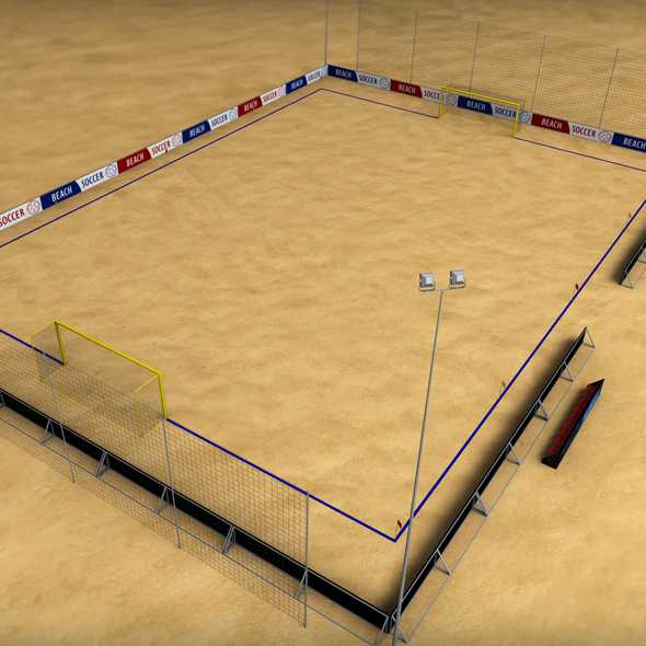 Beach soccer stadium field low poly - 3DOcean Item for Sale