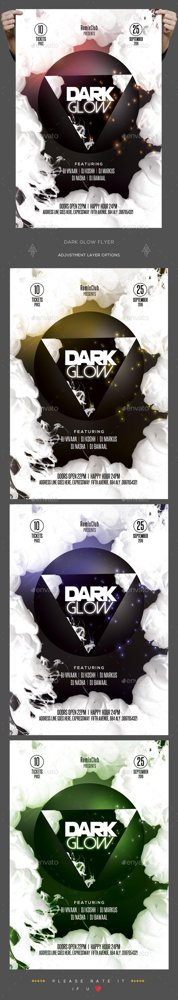 Dark Glow Flyer - Clubs & Parties Events