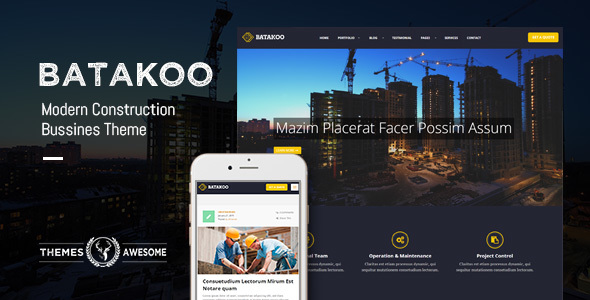 Batakoo - Modern Construction WP Theme