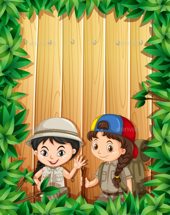 Border Design with Two Girls Hiking - People Characters