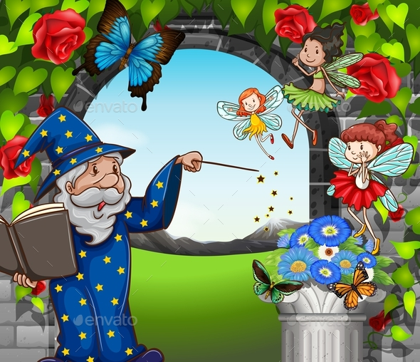 Wizard and Fairies Flying in Garden - People Characters