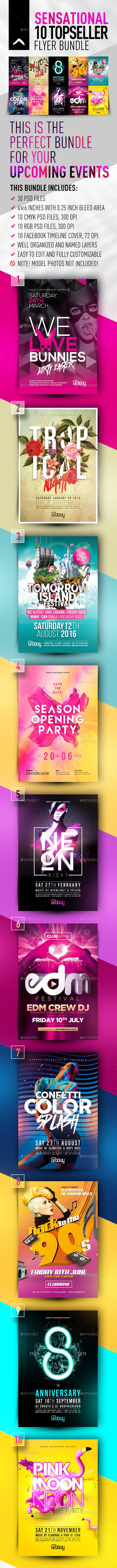 10 Topseller Flyer Bundle - Clubs & Parties Events