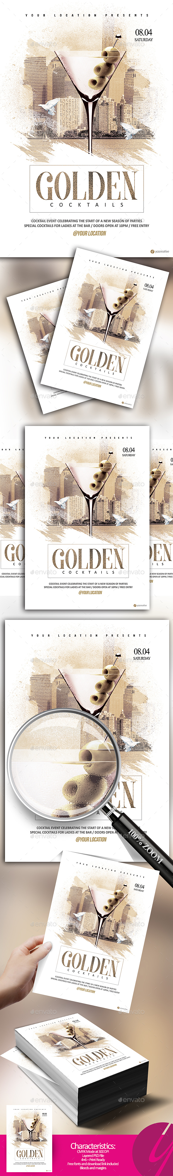 Golden Cocktail Flyer - Clubs & Parties Events