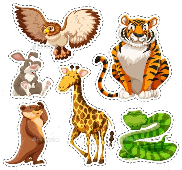 Sticker Set of Wild Animals - Animals Characters