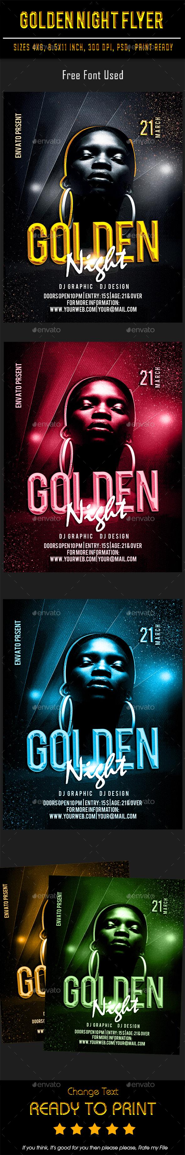 Golden Night Flyer - Flyers Print Templates