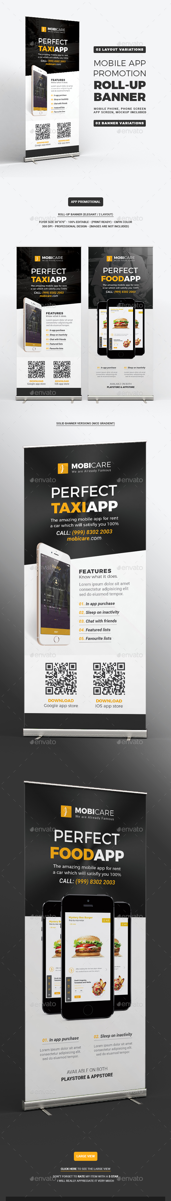 Mobile App Promotion Roll-up Banner - Signage Print Templates