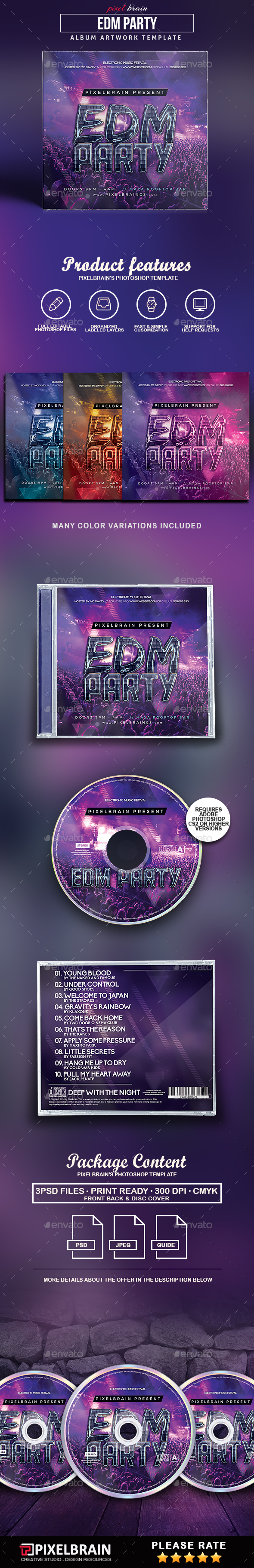 EDM Party CD Cover Artwork - CD & DVD Artwork Print Templates