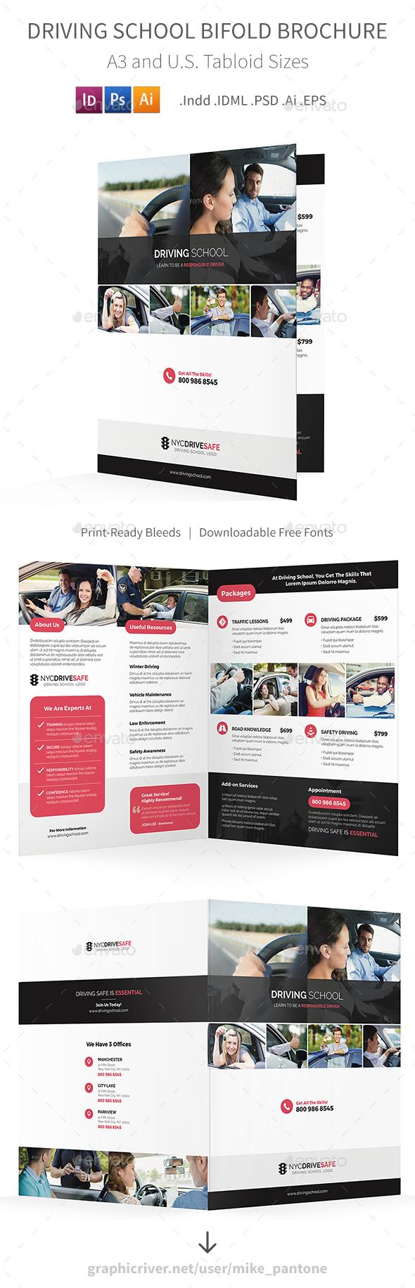 Driving School Bifold / Halffold Brochure - Informational Brochures