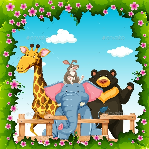 Wild Animals in Flower Frame - People Characters