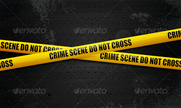 Crime Scene Tape on black grunge background - Objects Vectors