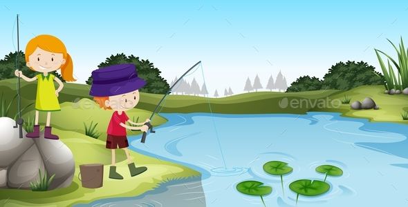 Boy and Girl Fishing at the River - People Characters