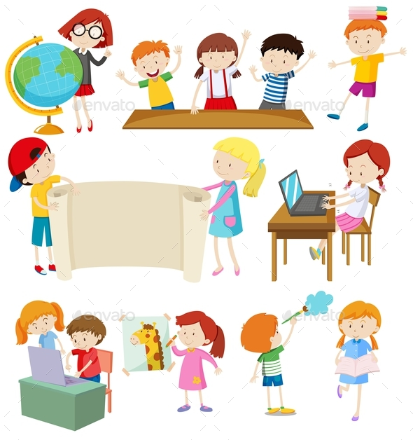 Children Doing Different Activities - People Characters