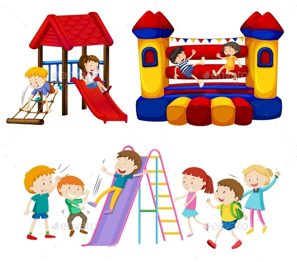 Children Playing in the Playground - People Characters