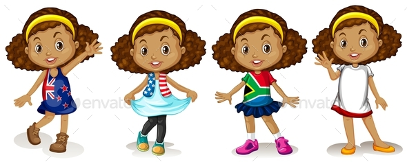 Little Girl Wearing Shirts from Different Countries - People Characters