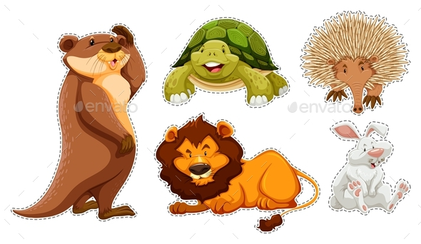 Sticker Set of Many Wildlife - Animals Characters