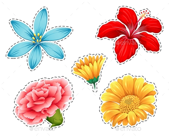 Sticker Set with Different Types of Flowers - Flowers & Plants Nature