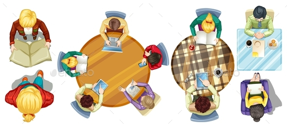 Top View of People Doing Different Activities - People Characters