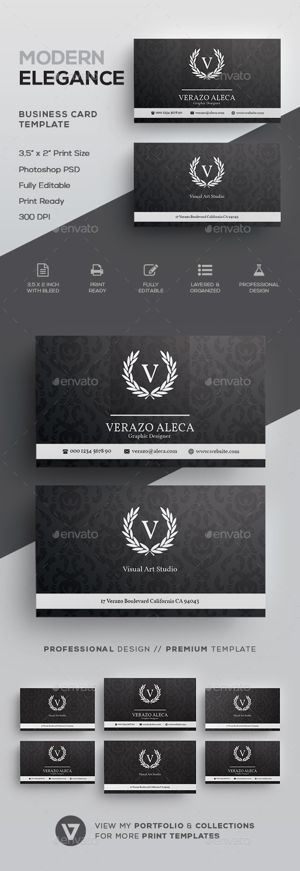 Elegant business card template by verazo graphicriver elegant business card template corporate business cards accmission Image collections