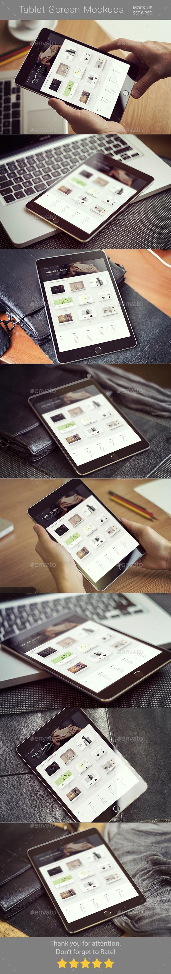 Tablet Screen Mockups - Displays Product Mock-Ups
