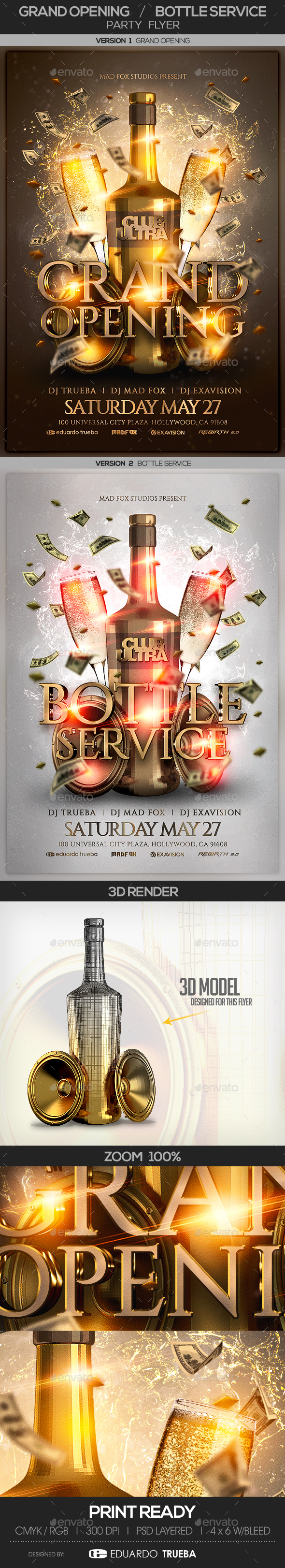 Grand Opening & Bottle Service Party Flyer - Clubs & Parties Events