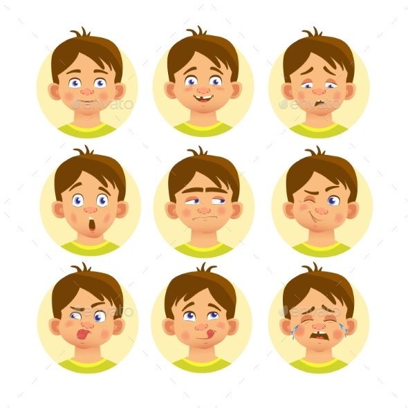 Set of Emoticons - People Characters
