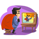 Superheroe Watching Himself on TV - GraphicRiver Item for Sale