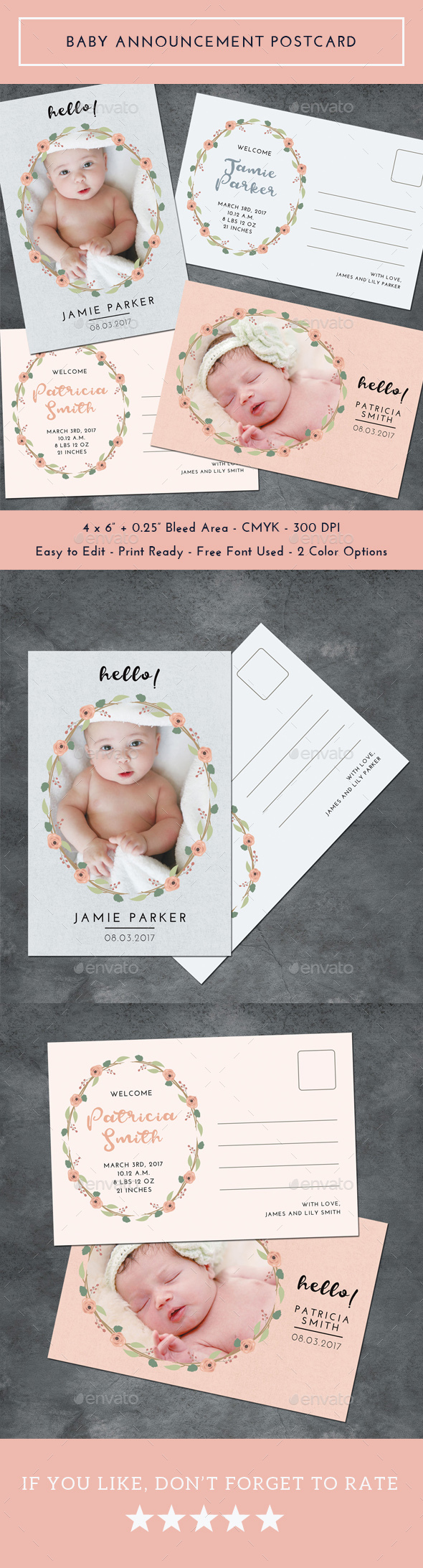 Baby Announcement Postcard - Cards & Invites Print Templates