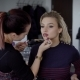Visagiste Artist in a Hurry To Finish the Amazing Make-up for a Very Famous Film Actress. Young