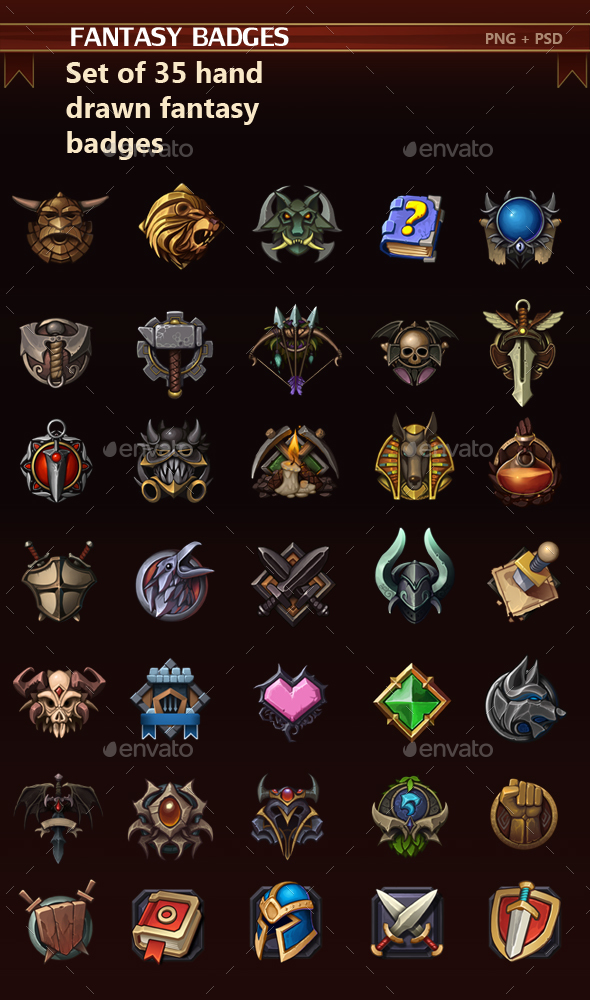 Fantasy Badges - Miscellaneous Game Assets