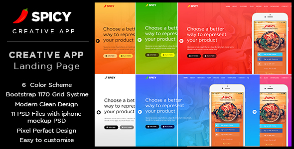 Spicy Restaurant & Cafe App Landing Page PSD Template