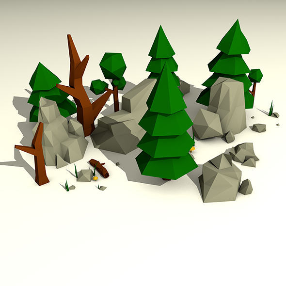 Low Poly Rocks and Trees Pack - 3DOcean Item for Sale