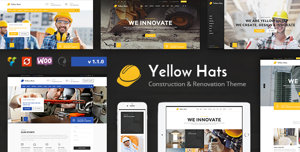 Yellow Hats - Construction, Building & Renovation Theme - Business Corporate