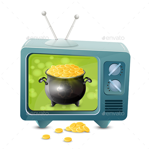 Patrick Day TV with Golden Coins - Man-made Objects Objects