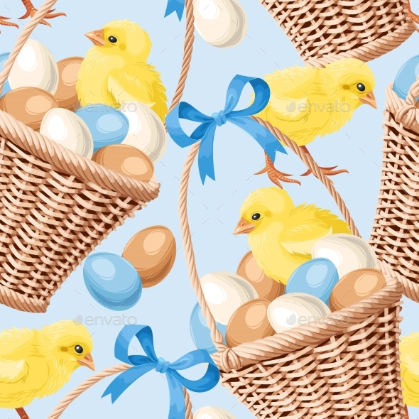 Seamless Basket with Eggs - Backgrounds Decorative