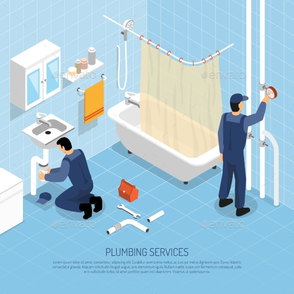 Plumber Isometric Illustration - People Characters