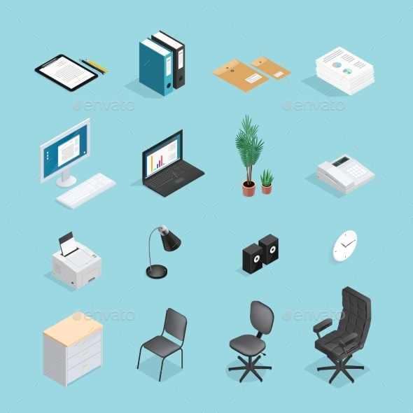 Office Supplies Isometric Icon Set - Concepts Business