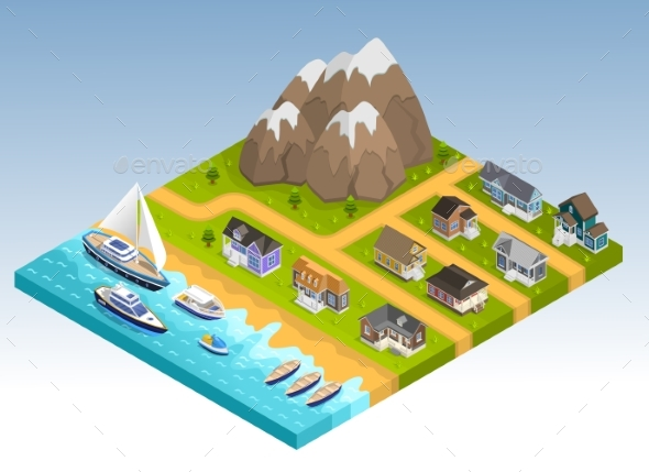 Sea Line Isometric Composition - Landscapes Nature
