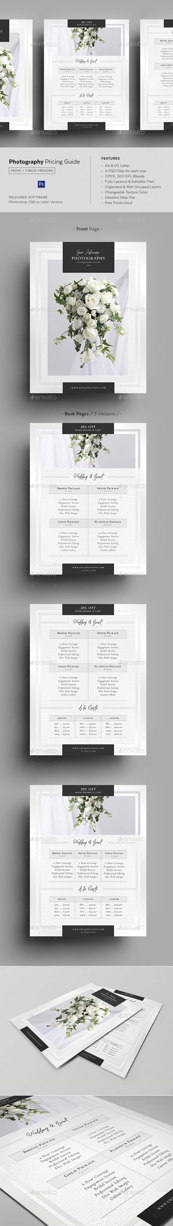 Photography Pricing Guide Template - Commerce Flyers