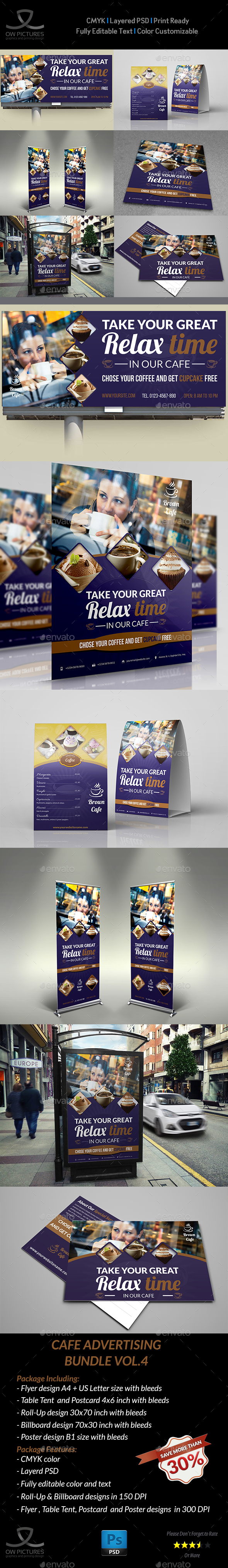 Cafe - Coffee Shop Advertising Bundle Vol.4 - Signage Print Templates