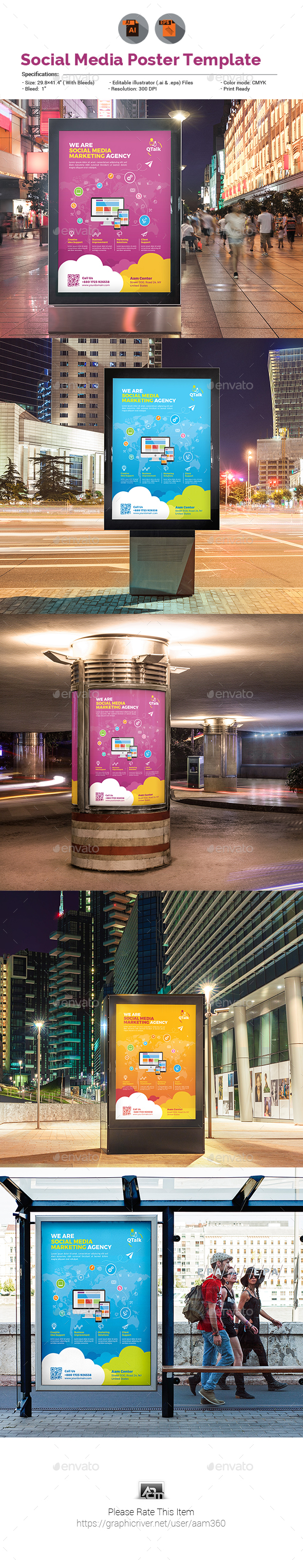 Social Media Marketing Poster - Signage Print Templates