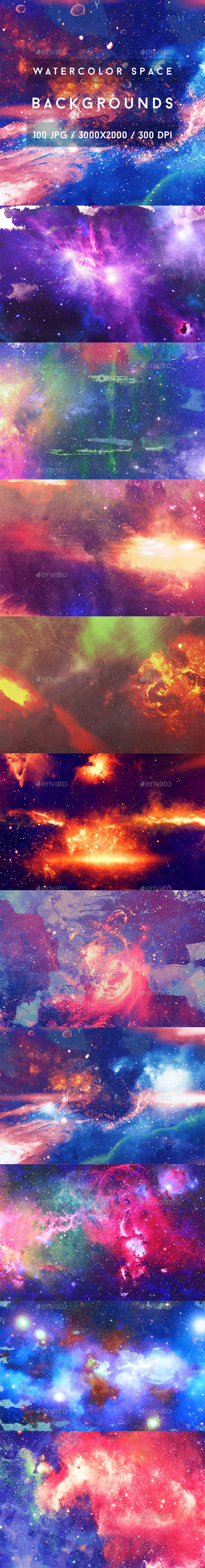 100 Watercolor Space Backgrounds - Backgrounds Graphics
