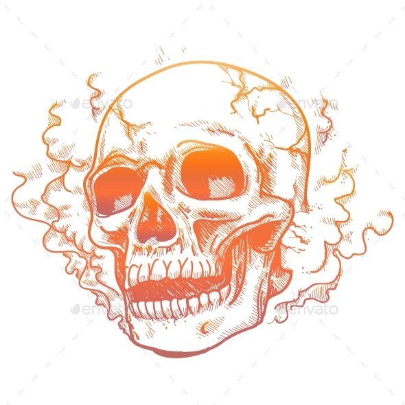 Human Skull in Smoke Smell - Miscellaneous Conceptual